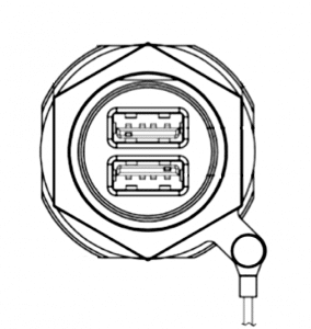 USB socket D38999 line drawing