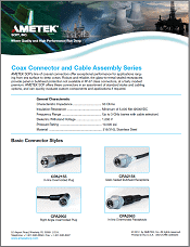AMETEK SCP - Coax Connector Cable Assembly Series Brochure